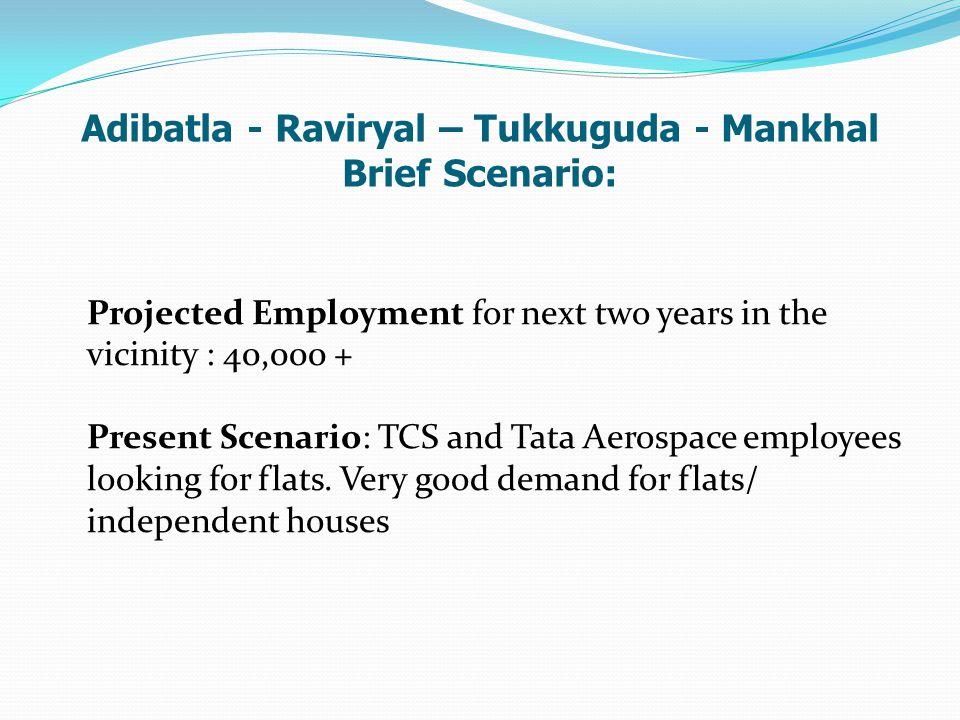 Adibatla - Raviryal – Tukkuguda - Mankhal Brief Scenario: Projected Employment for next two years in the vicinity : 40,000 + Present Scenario: TCS and