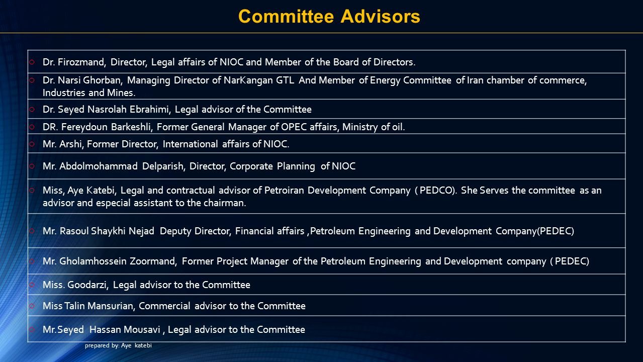 Committee Advisors o Dr.