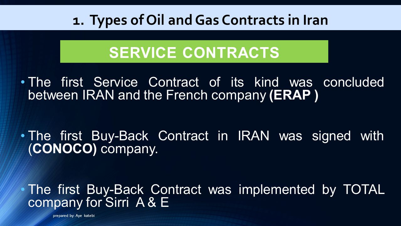 SERVICE CONTRACTS The first Service Contract of its kind was concluded between IRAN and the French company (ERAP ) The first Buy-Back Contract in IRAN was signed with (CONOCO) company.