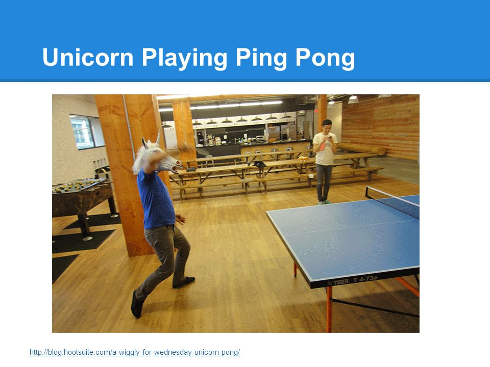 Unicorn Playing Ping Pong http://blog.hootsuite.com/a-wiggly-for-wednesday-unicorn-pong/