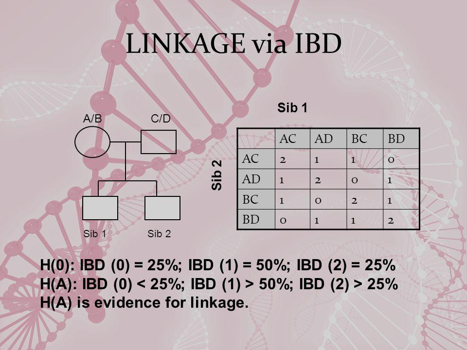 A/B C/D ACADBCBD AC2110 AD1201 BC1021 BD0112 Sib 1 Sib 2 Sib 1 Sib 2 H(0): IBD (0) = 25%; IBD (1) = 50%; IBD (2) = 25% H(A): IBD (0) 50%; IBD (2) > 25% H(A) is evidence for linkage.