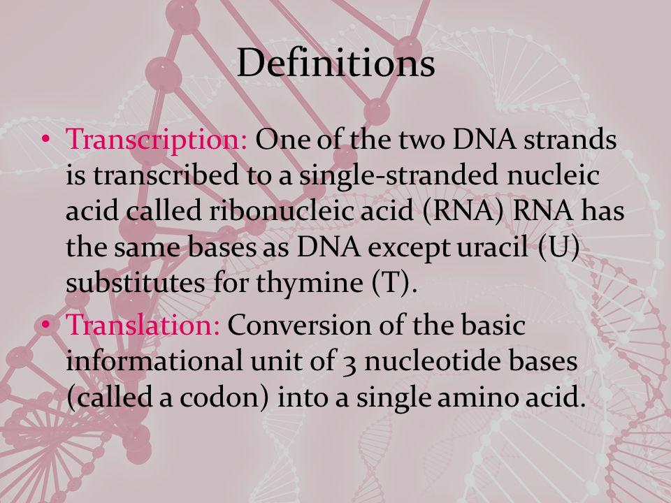 Example TTTTCC AAAAGG UUUUCC Transcription PhenylalanineSerine Translation Non-transcribed DNA strand Transcribed DNA strand mRNA Amino Acid