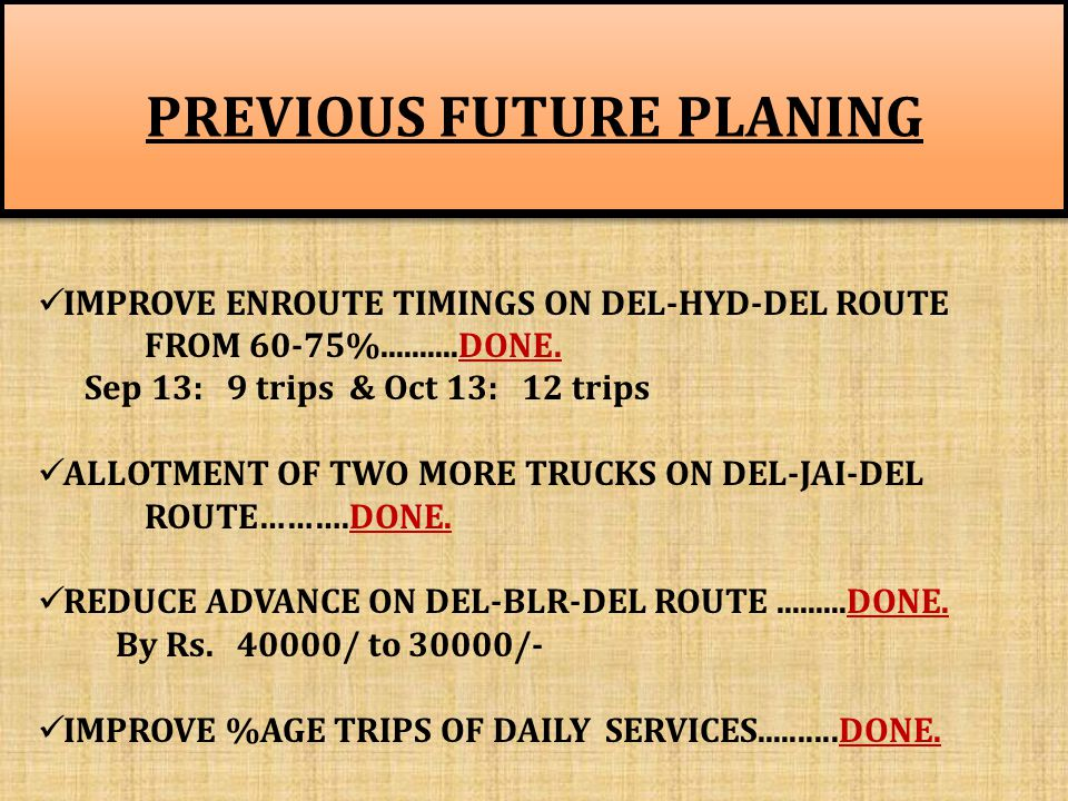 PREVIOUS FUTURE PLANING PREVIOUS FUTURE PLANING IMPROVE ENROUTE TIMINGS ON DEL-HYD-DEL ROUTE FROM 60-75%..........DONE.