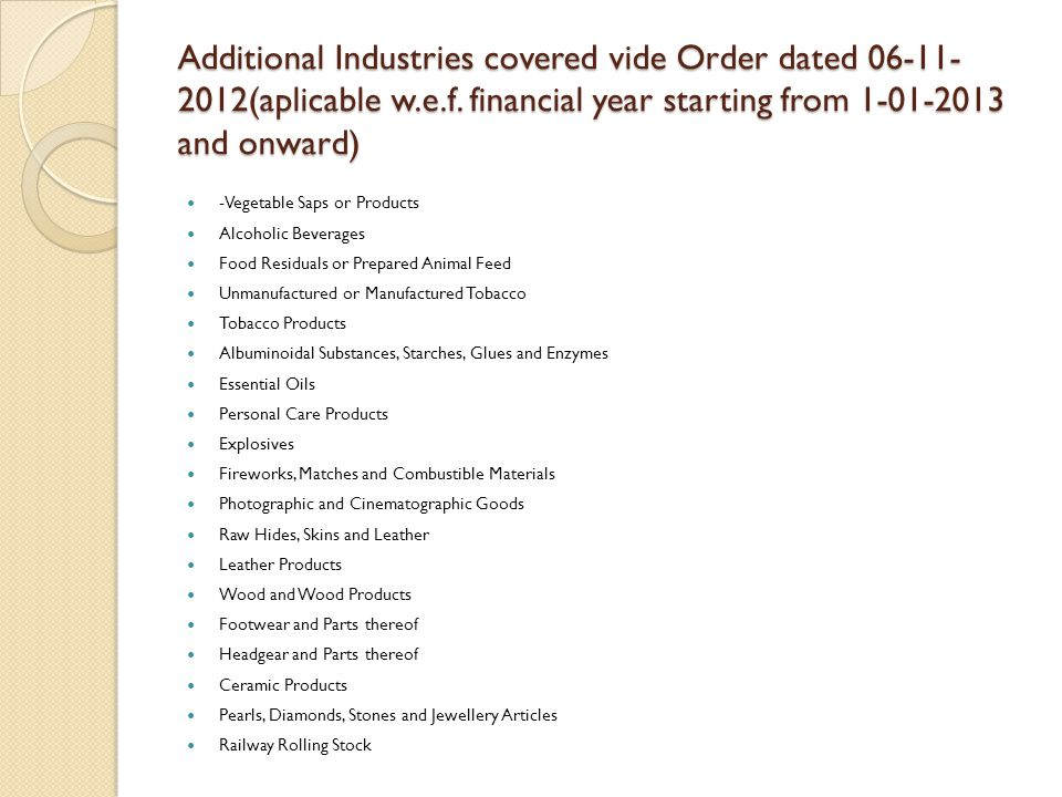Additional Industries covered vide Order dated 06-11- 2012(aplicable w.e.f.