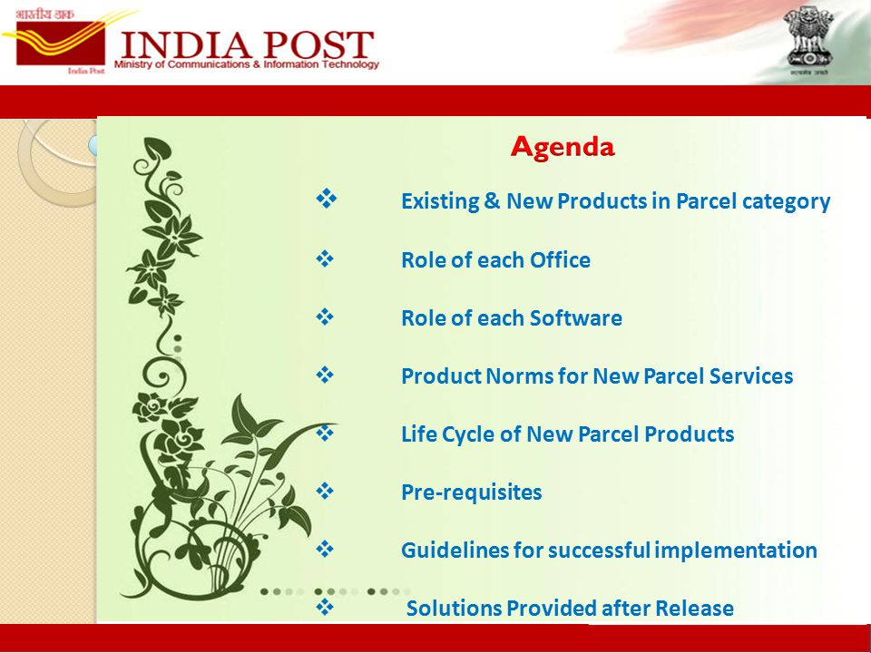  Existing & New Products in Parcel category  Role of each Office  Role of each Software  Product Norms for New Parcel Services  Life Cycle of New Parcel Products  Pre-requisites  Guidelines for successful implementation  Solutions Provided after Release