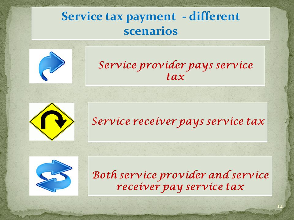 12 Service receiver pays service tax Both service provider and service receiver pay service tax Service tax payment - different scenarios