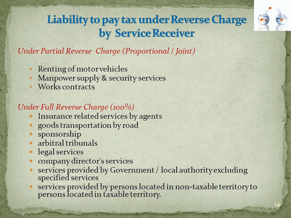 Under Partial Reverse Charge (Proportional / Joint)  Renting of motor vehicles  Manpower supply & security services  Works contracts Under Full Rev