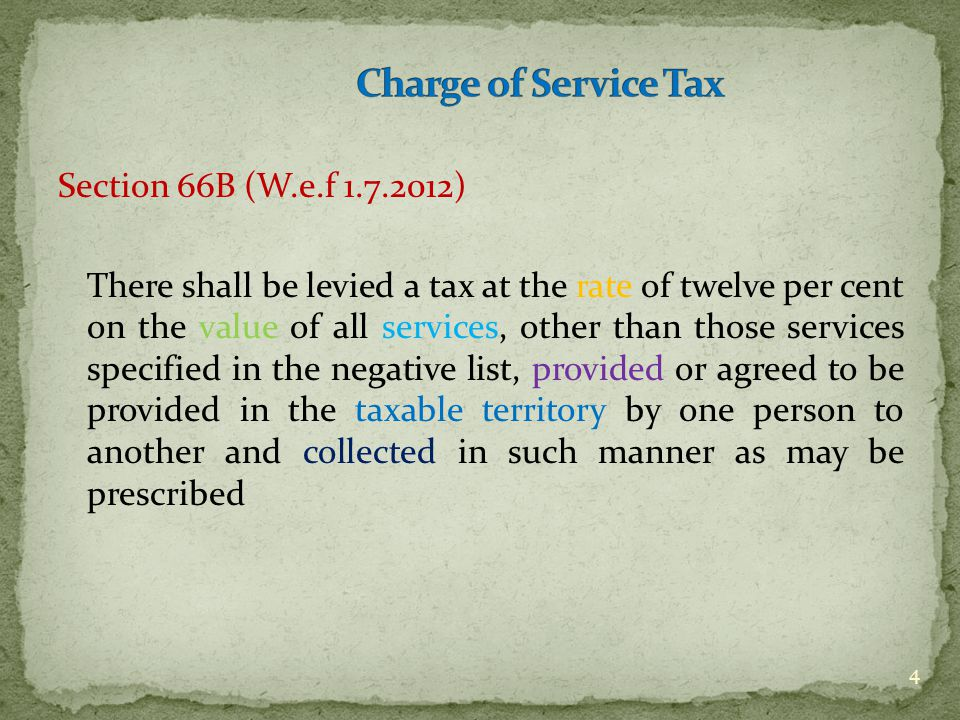 Section 66B (W.e.f 1.7.2012) There shall be levied a tax at the rate of twelve per cent on the value of all services, other than those services specif