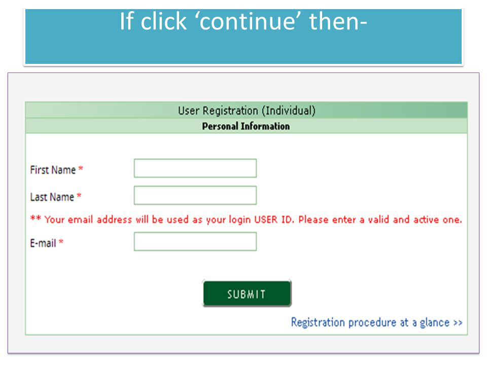 If click 'continue' then-
