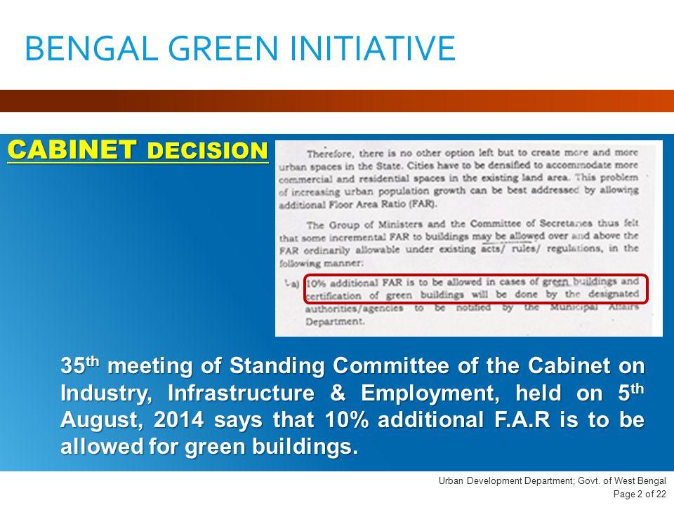 Urban Development Department; Govt.
