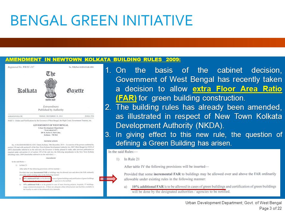 1.On the basis of the cabinet decision, Government of West Bengal has recently taken a decision to allow extra Floor Area Ratio (FAR) for green building construction.