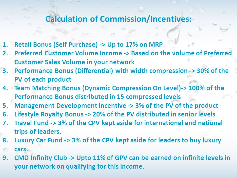 Calculation of Commission/Incentives: 1.Retail Bonus (Self Purchase) -> Up to 17% on MRP 2.Preferred Customer Volume Income -> Based on the volume of