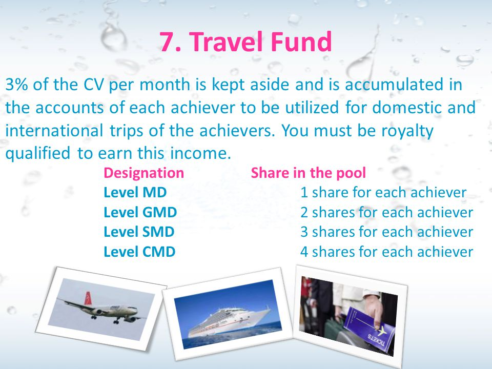 7. Travel Fund 3% of the CV per month is kept aside and is accumulated in the accounts of each achiever to be utilized for domestic and international
