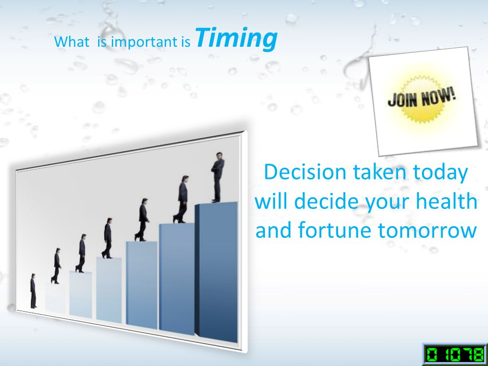 Decision taken today will decide your health and fortune tomorrow What is important is Timing