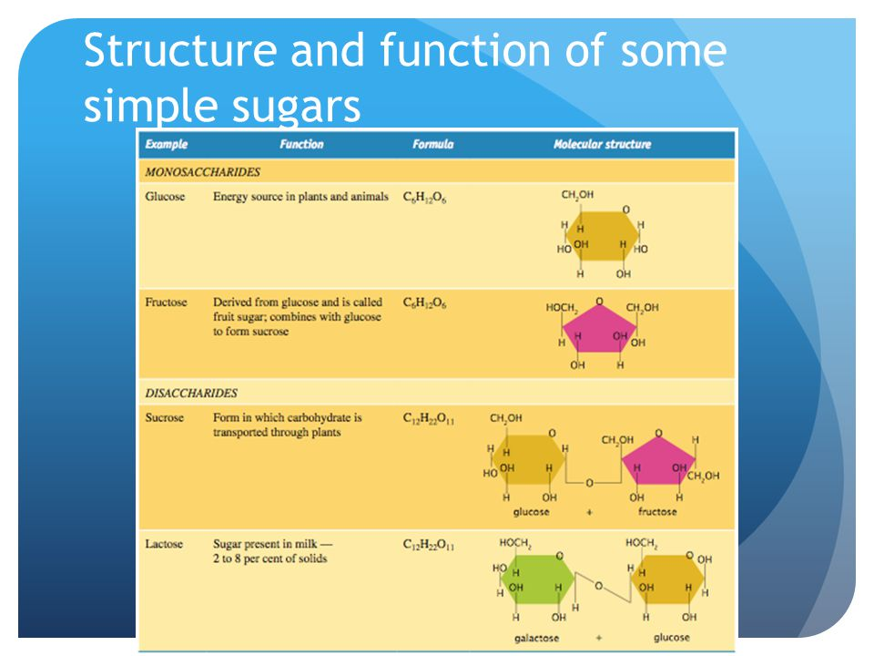 Structure and function of some simple sugars