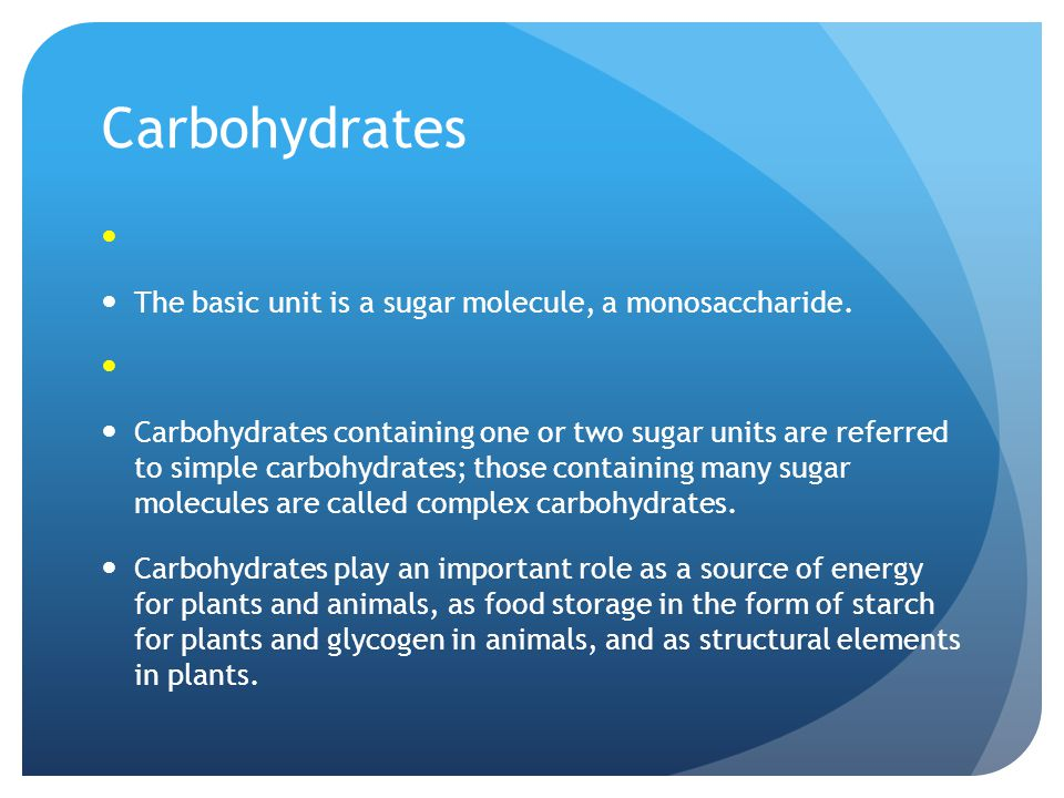 Classification of carbohydrates