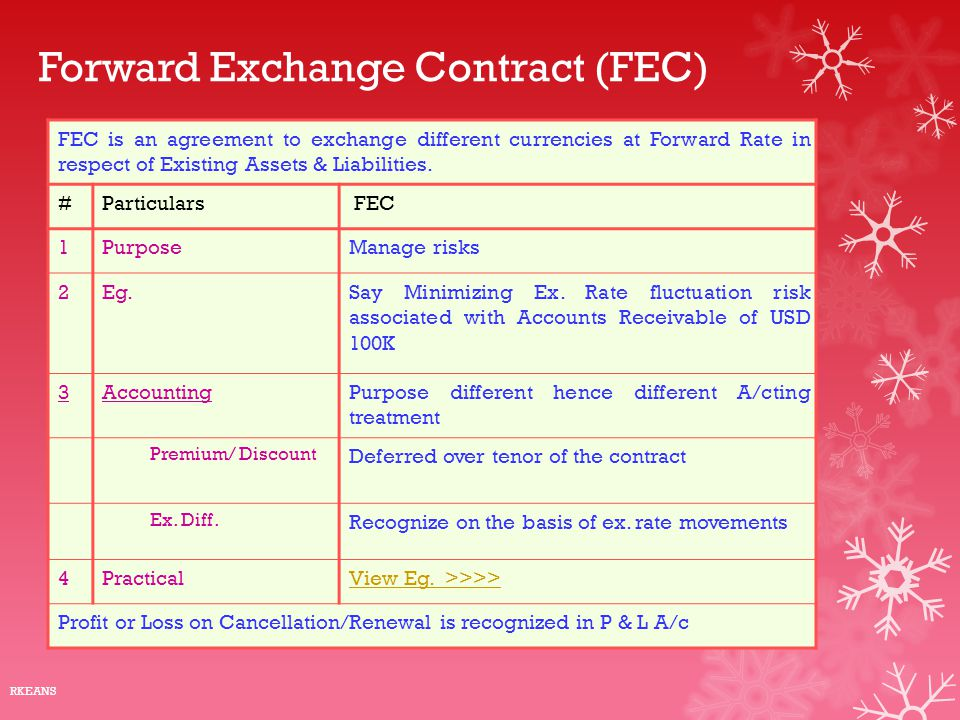 Forward Exchange Contract (FEC) FEC is an agreement to exchange different currencies at Forward Rate in respect of Existing Assets & Liabilities. #Par