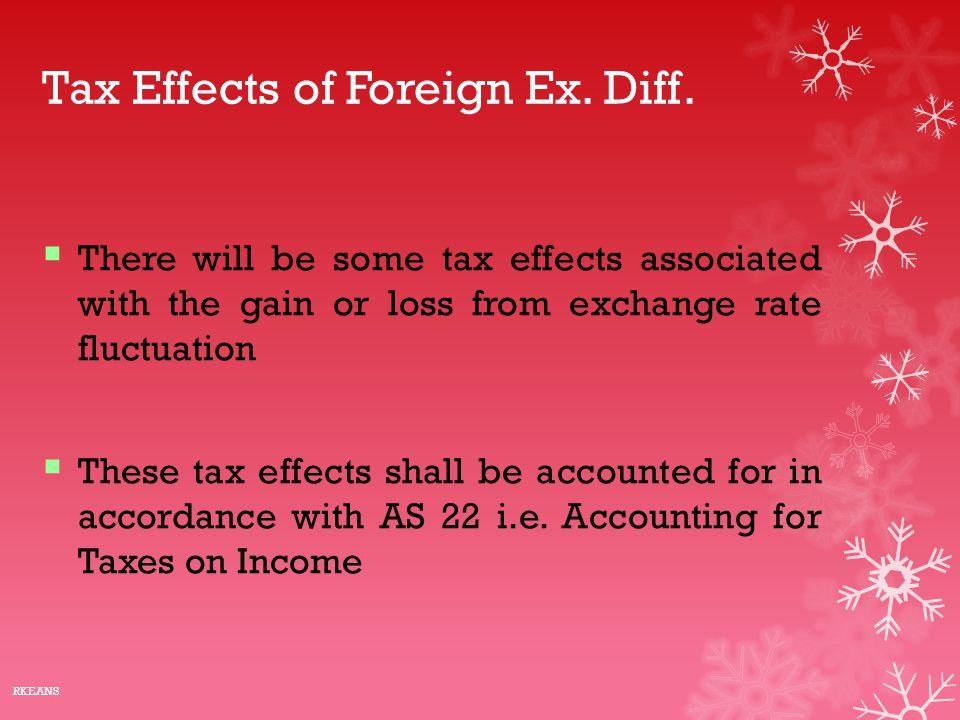 Tax Effects of Foreign Ex. Diff.  There will be some tax effects associated with the gain or loss from exchange rate fluctuation  These tax effects