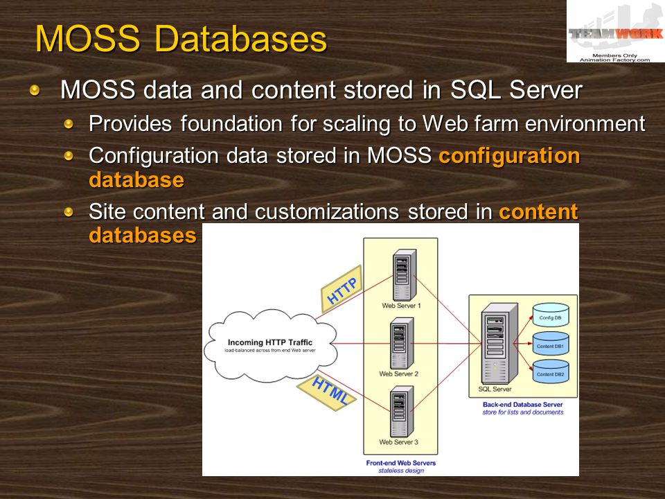 MOSS Databases MOSS data and content stored in SQL Server Provides foundation for scaling to Web farm environment Configuration data stored in MOSS co