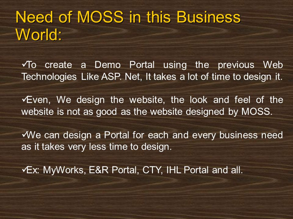 Web Parts Web Parts are used to build portal-style applications Content designed to modular, consistent and easy to navigate Web Parts add in support for customization and personalization