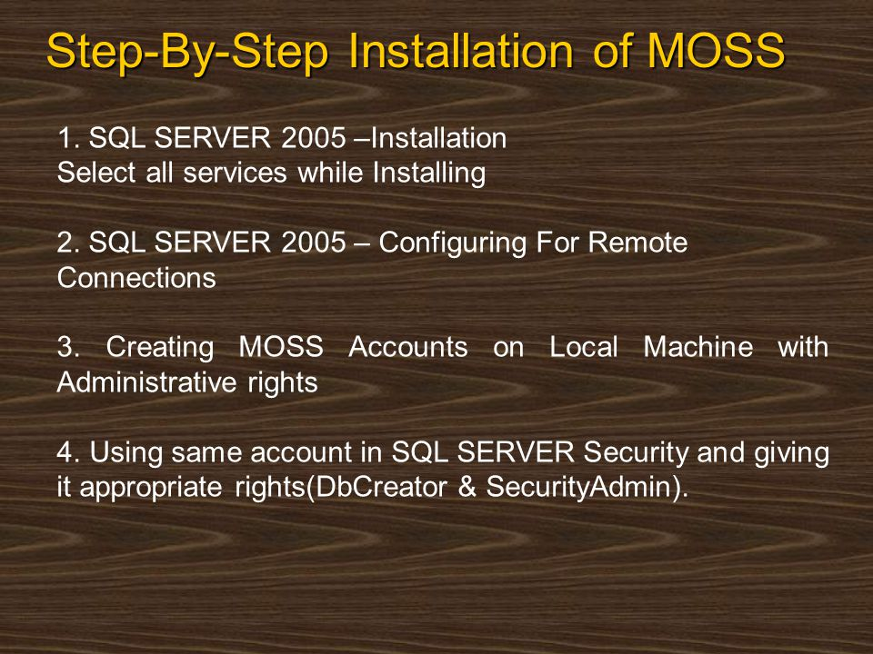 Step-By-Step Installation of MOSS(Cont) Now Install MOSS 2007 Application 5.