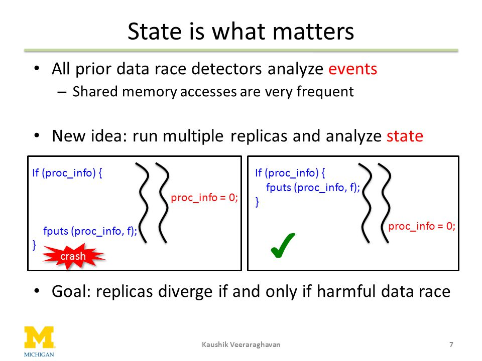 State is what matters All prior data race detectors analyze events – Shared memory accesses are very frequent New idea: run multiple replicas and anal