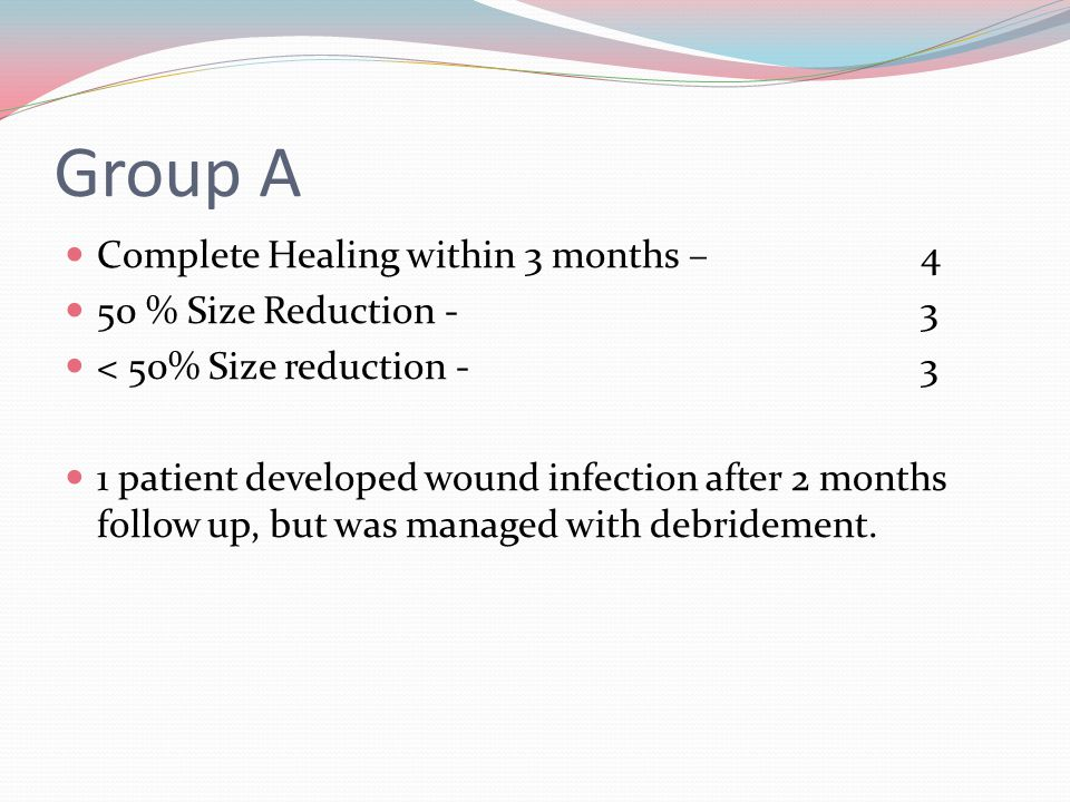 Group A Complete Healing within 3 months – 4 50 % Size Reduction -3 < 50% Size reduction - 3 1 patient developed wound infection after 2 months follow up, but was managed with debridement.