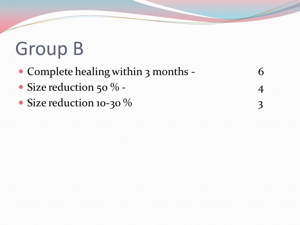 Group B Complete healing within 3 months -6 Size reduction 50 % - 4 Size reduction 10-30 % 3