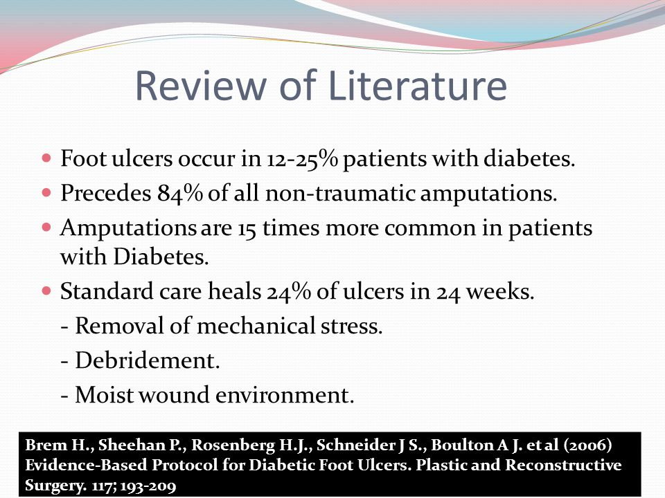 Review of Literature Foot ulcers occur in 12-25% patients with diabetes.