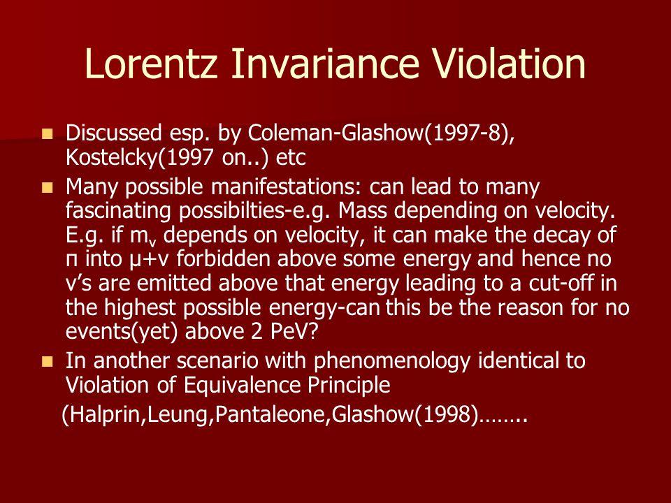 Lorentz Invariance Violation Discussed esp.