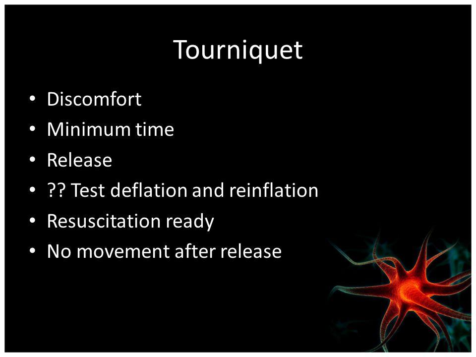 Tourniquet Discomfort Minimum time Release ?.
