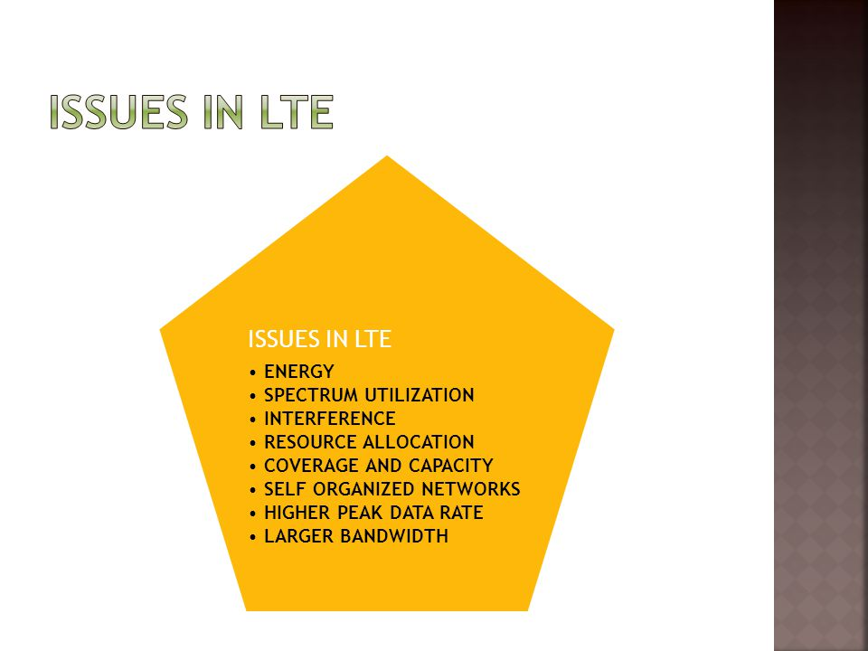ISSUES IN LTE ENERGY SPECTRUM UTILIZATION INTERFERENCE RESOURCE ALLOCATION COVERAGE AND CAPACITY SELF ORGANIZED NETWORKS HIGHER PEAK DATA RATE LARGER