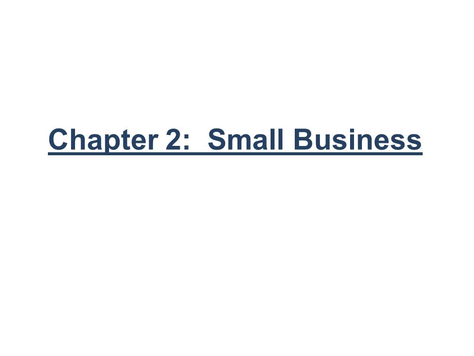 Chapter 2: Small Business