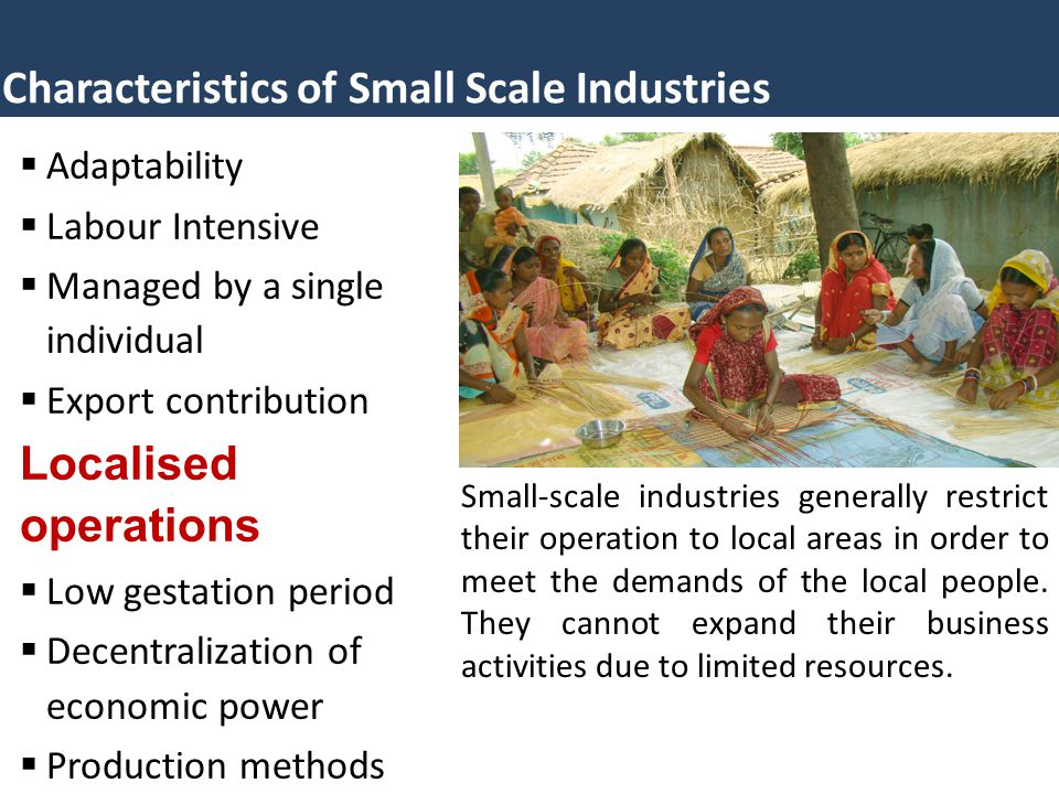 Characteristics of Small Scale Industries  Adaptability  Labour Intensive  Managed by a single individual  Export contribution Localised operation