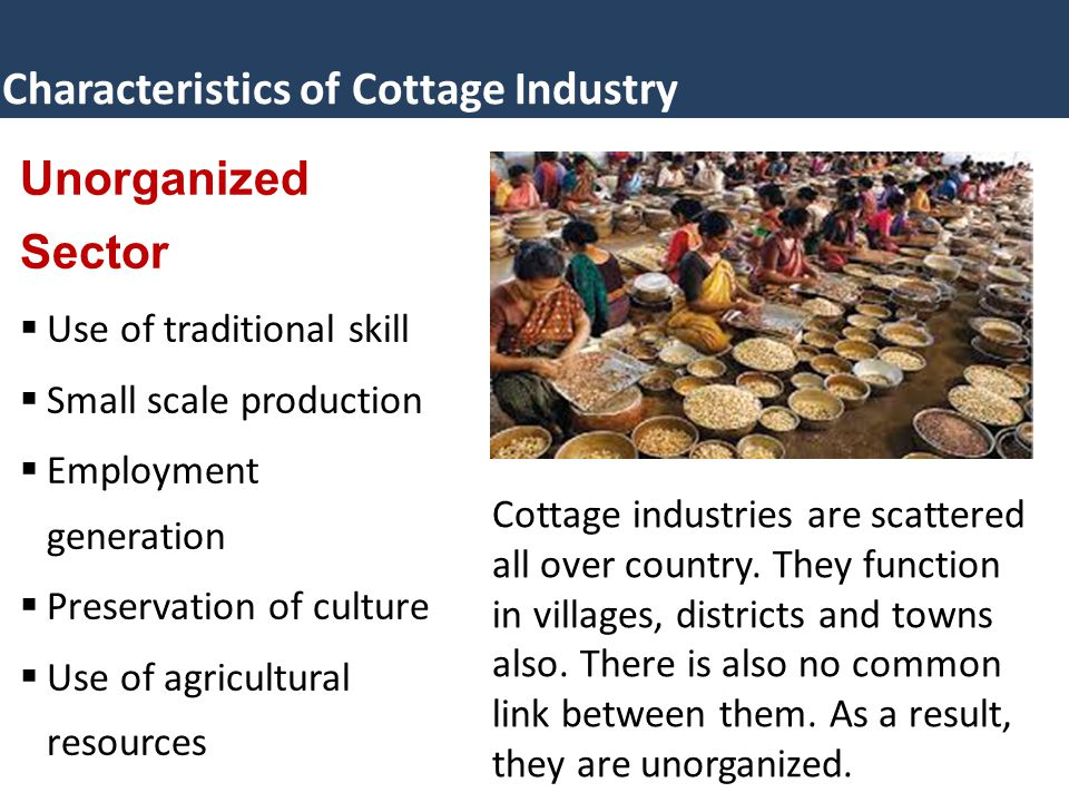 Characteristics of Cottage Industry Unorganized Sector  Use of traditional skill  Small scale production  Employment generation  Preservation of culture  Use of agricultural resources Cottage industries are scattered all over country.