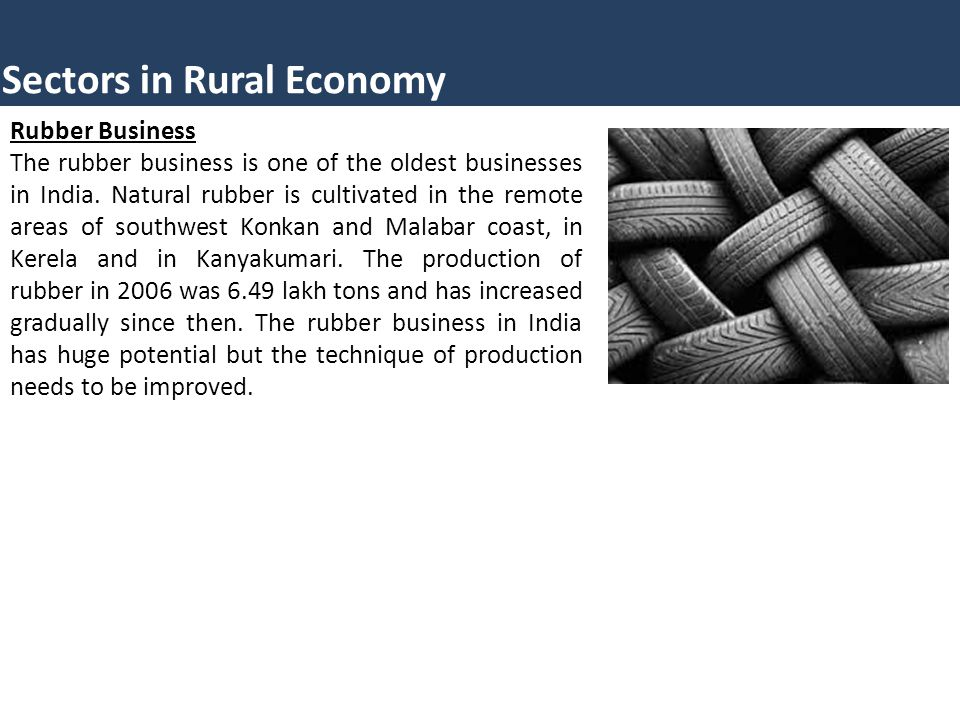 Sectors in Rural Economy Rubber Business The rubber business is one of the oldest businesses in India. Natural rubber is cultivated in the remote area