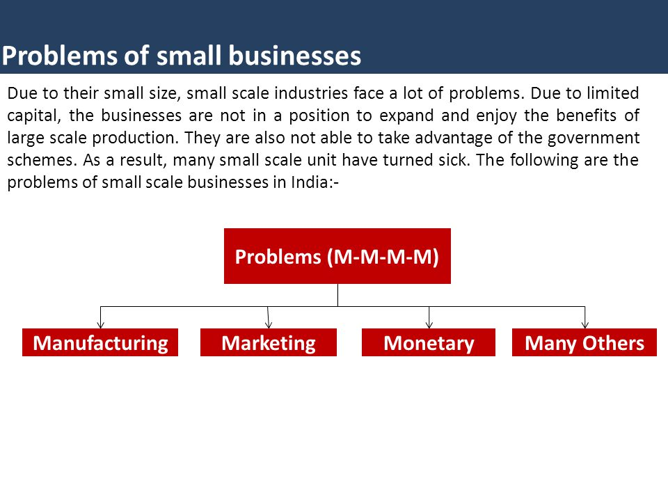 Problems of small businesses Due to their small size, small scale industries face a lot of problems.