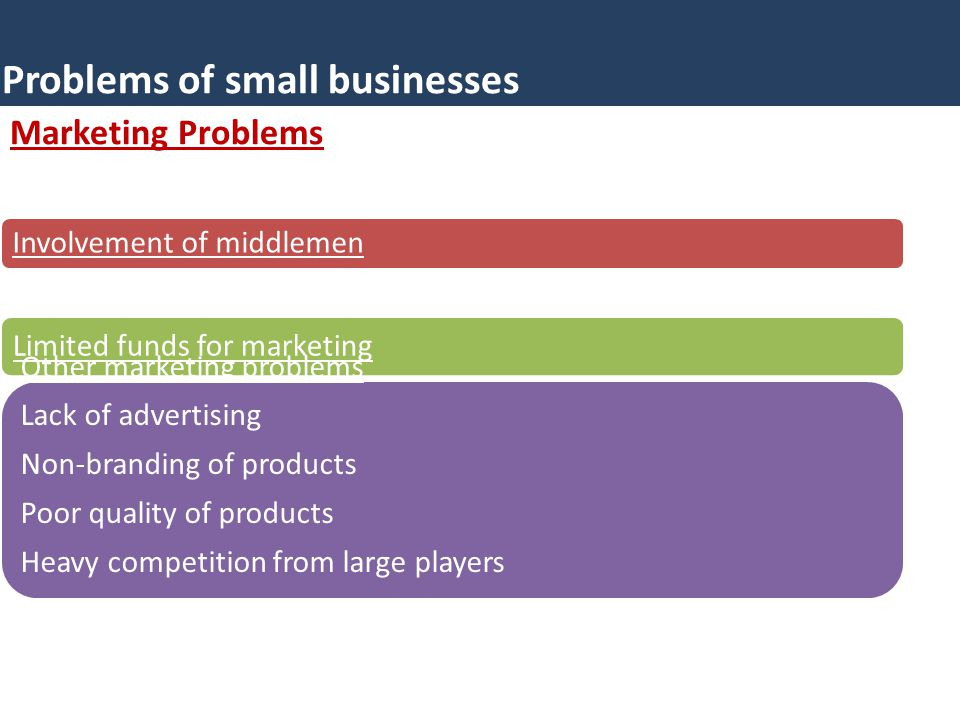 Marketing Problems Problems of small businesses Involvement of middlemen Limited funds for marketing Other marketing problems Lack of advertising Non-branding of products Poor quality of products Heavy competition from large players Lack of knowledge regarding marketing.