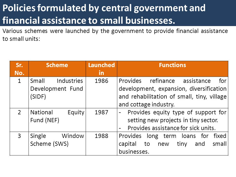 Policies formulated by central government and financial assistance to small businesses.