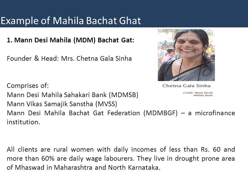 1.Mann Desi Mahila (MDM) Bachat Gat: Founder & Head: Mrs.