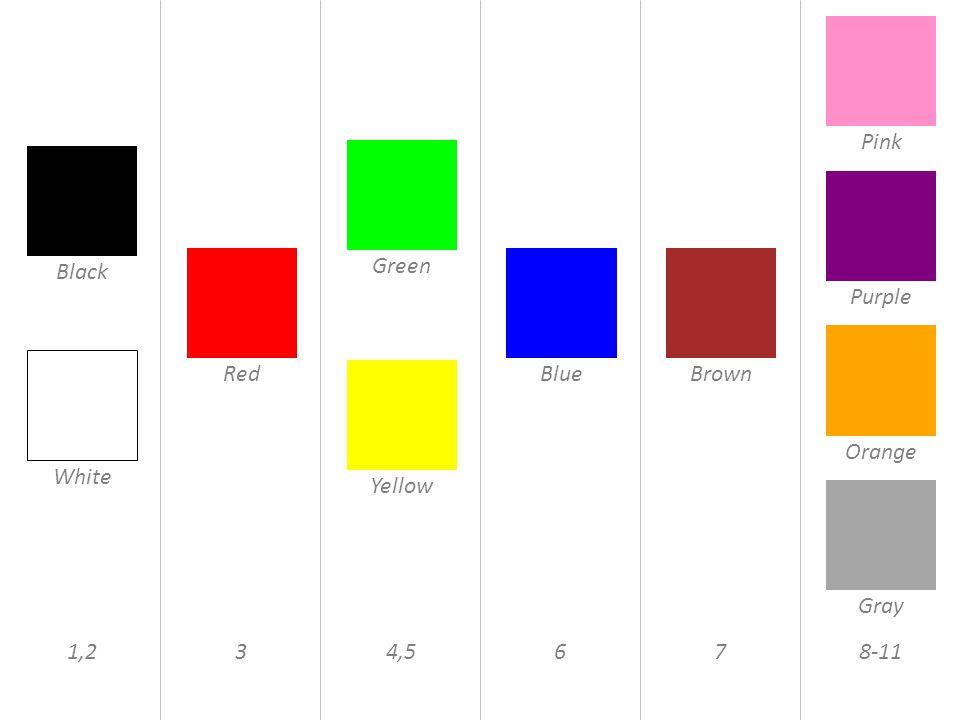 Black White Red Green Yellow BlueBrown Pink Purple Orange Gray 1,234,5678-11