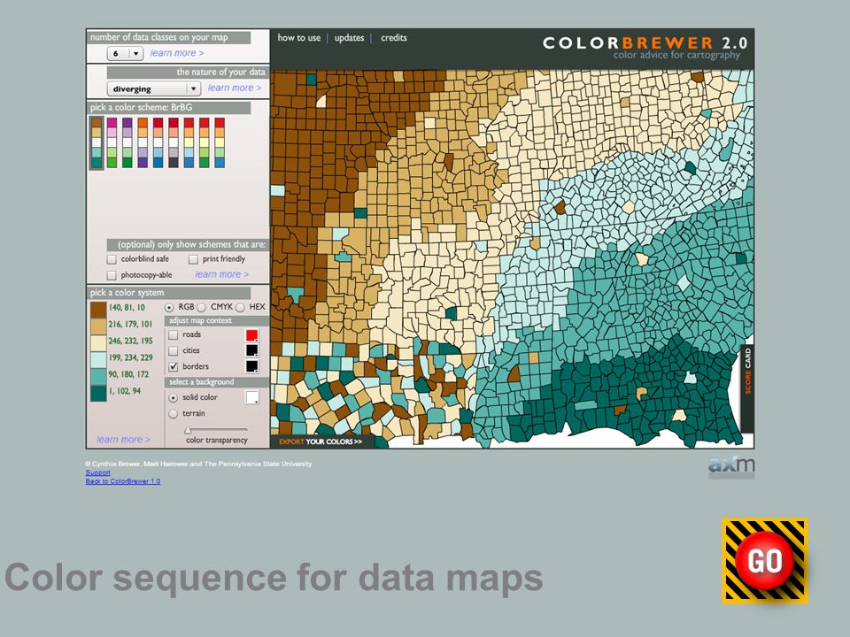Color sequence for data maps