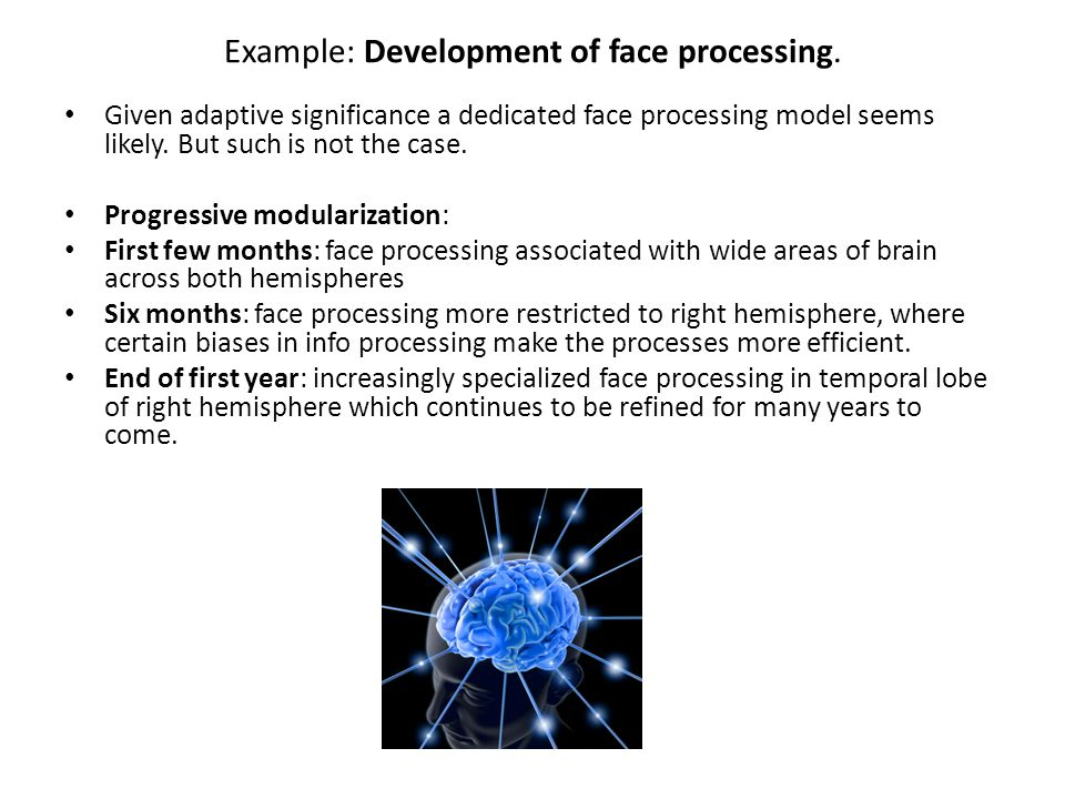 Example: Development of face processing.