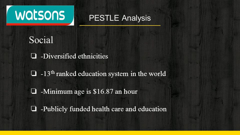 PESTLE Analysis Social ❏ -Diversified ethnicities ❏ -13 th ranked education system in the world ❏ -Minimum age is $16.87 an hour ❏ -Publicly funded he