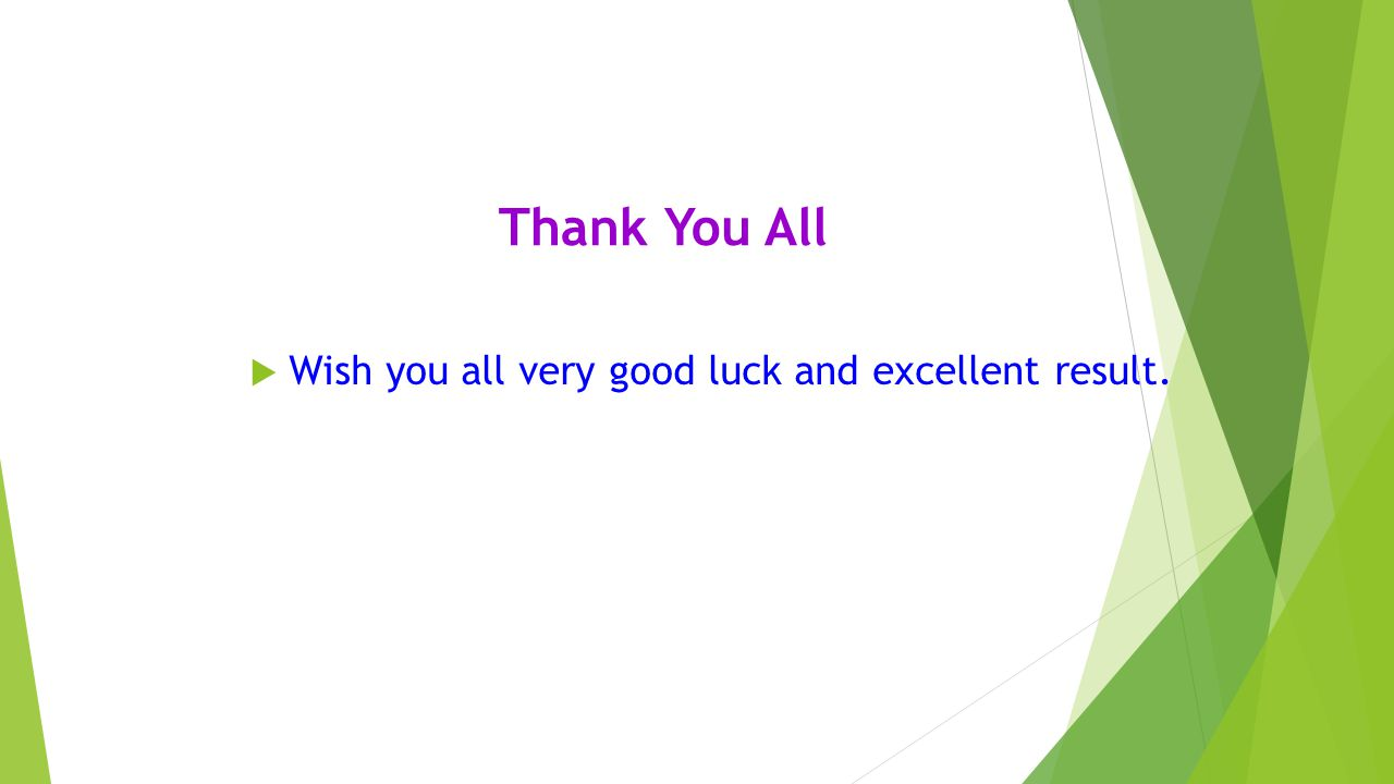 Thank You All  Wish you all very good luck and excellent result.