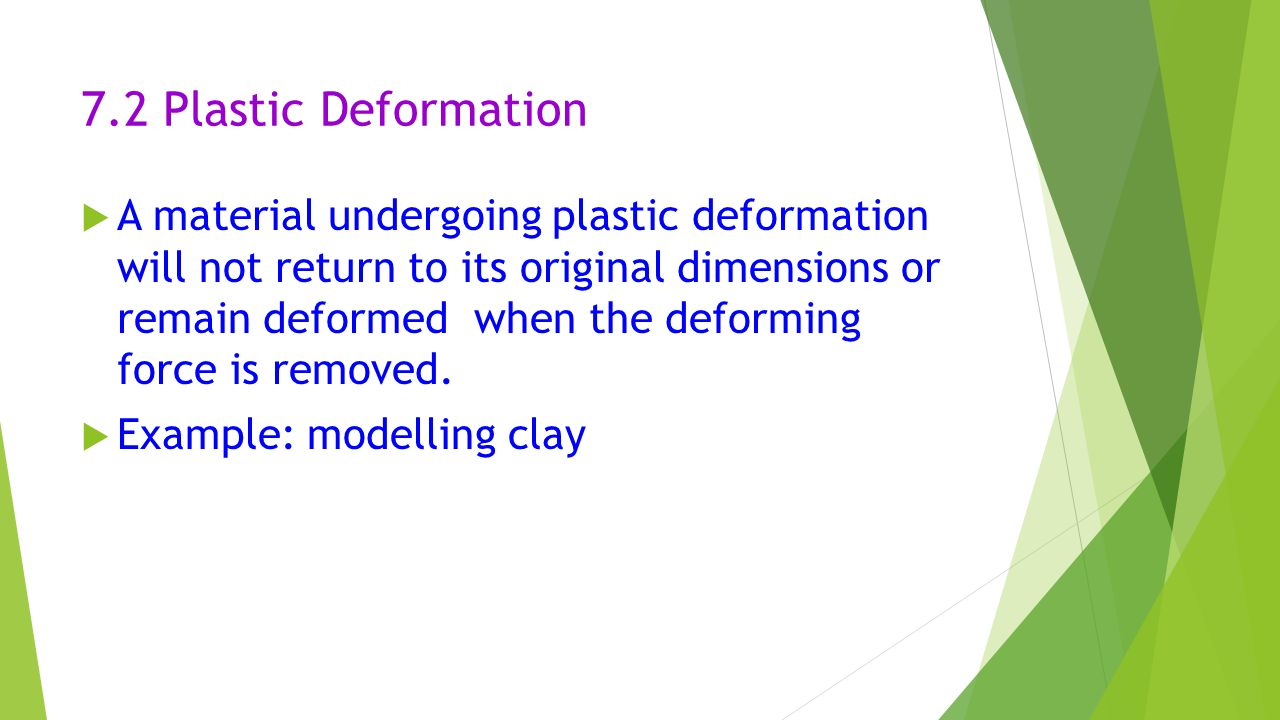 7.2 Plastic Deformation  A material undergoing plastic deformation will not return to its original dimensions or remain deformed when the deforming f