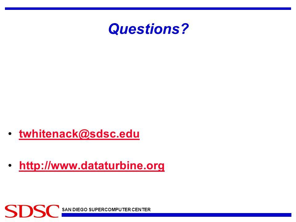 SAN DIEGO SUPERCOMPUTER CENTER Questions twhitenack@sdsc.edu http://www.dataturbine.org