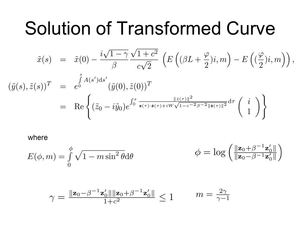 Solution of Transformed Curve where
