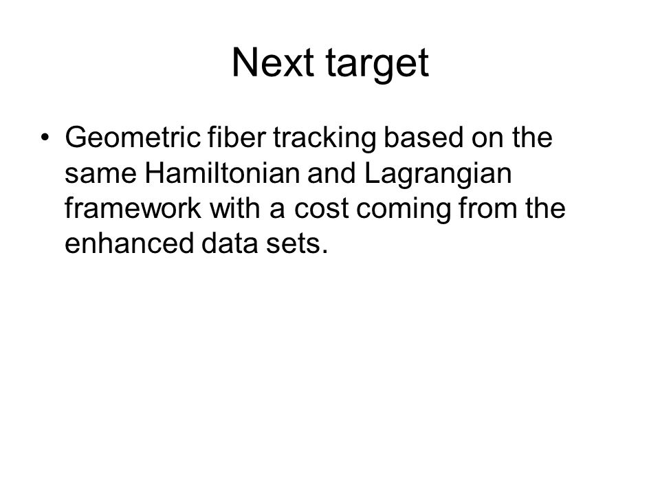 Next target Geometric fiber tracking based on the same Hamiltonian and Lagrangian framework with a cost coming from the enhanced data sets.