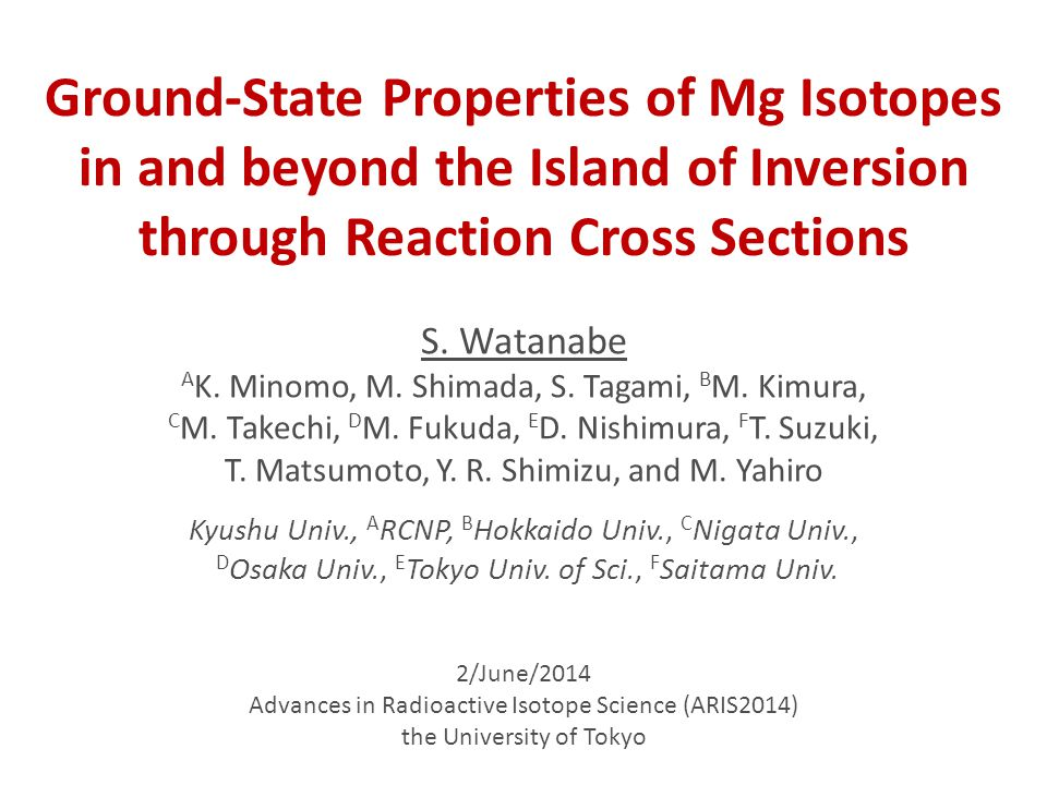 2/June/2014 Advances in Radioactive Isotope Science (ARIS2014) the University of Tokyo S.